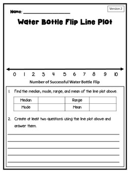 FREE Water Bottle Flip Line Plot Activity