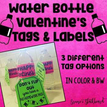 Water Bottle Flip Valentines Day Tag & Label