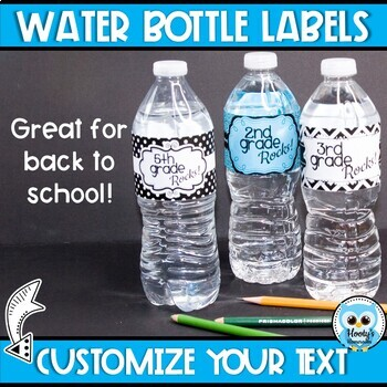 Water Bottle Labels - Black and White