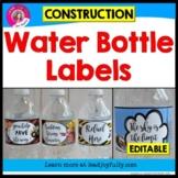 EDITABLE Water Bottle Labels (Construction Theme)