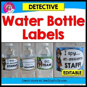 Water Bottle Labels (Detective Theme)