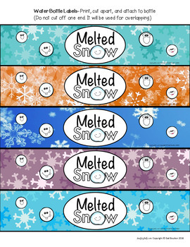 Water Bottle Labels: Gift for Teachers, Staff, or Students! (Melted Snow)