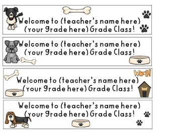 Water Bottle Labels, K-5: dog theme