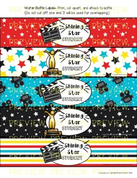 Water Bottle Labels (Movie Star/Awards Ceremony Theme)