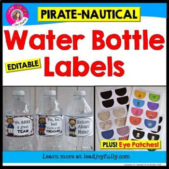 Water Bottle Labels PLUS Eye Patches (Pirate/Nautical Theme)