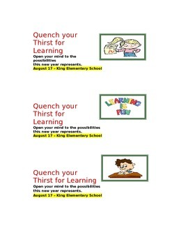 Water Bottle Labels for Staff/PTA/Admin. Events and Appreciation