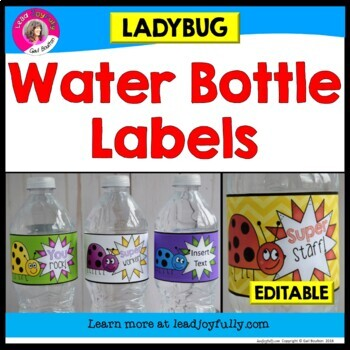 Water Bottle Labels: Gift for Teachers, Staff, or Students! (Ladybug Theme)
