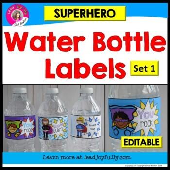 Superhero Water Bottle Labels for Teachers, Staff, or Students! SET 1