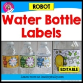 Water Bottle Labels: Gift for Teachers, Staff, or Students! (Robot Theme)