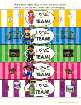 Water Bottle Labels: Gift for Teachers, Staff, or Students! (Full Set Sports)