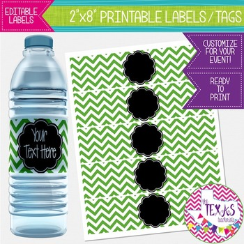 Water Bottle Lables - Green Chevron and Black {EDITABLE}