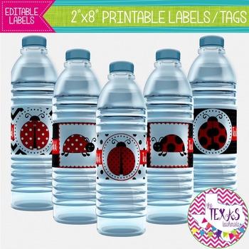 Water Bottle Lables - Ladybug Theme