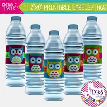 Water Bottle Lables - Owl Theme