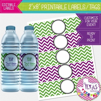 Water Bottle Lables - Purple and Green Chevron {EDITABLE}