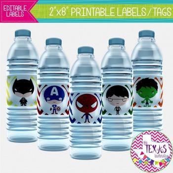 Water Bottle Lables - Superhero Theme