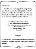 Water Bottle Parent Letter