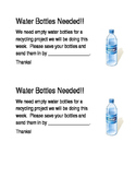 Water Bottle Recycling Project Note