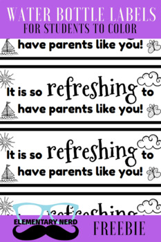 Water Bottle Tags - Parent Thank you