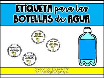 Water Bottle Treat Tag in Spanish
