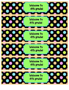 Water Bottle Wraps- Welcome to_________ grade!