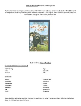Water Buffalo Days novel test and study guide