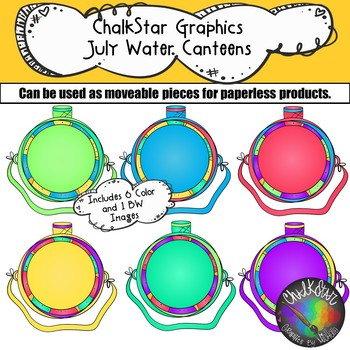 Water Canteens July Clip Art –Chalkstar Graphics
