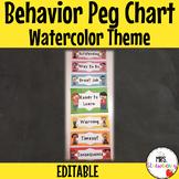 Water Color Behavior Reward Peg Chart   Clip Chart **Editable**