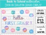 Water Color Bulletin Board or Door Display Back To School