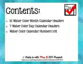 Water Color Calendar Headers