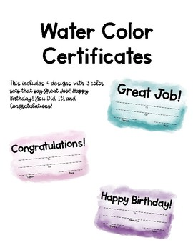 Water Color Certificates