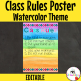 Water Color Class Rules Poster **Editable