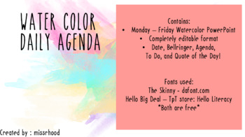 Water Color Daily Agenda
