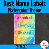 Water Color Desk Name Plates   Labels **Editable**