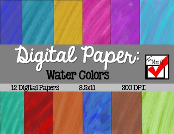 Water Color Digital Paper