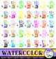 Water Color HandPrints Clip Art Set