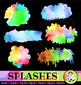 Water Color Ink Splashes and Splats Clip Art