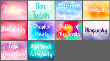 Water Color Library Section Signs (I can create a custom order)