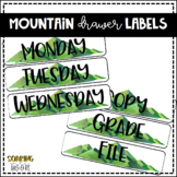 Water Color Mountain Theme Decor EDITABLE Drawer Labels