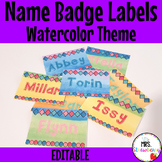 Water Color Name Badge Labels for Plastic Card Holders
