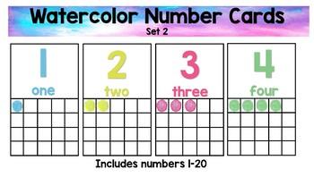 Water Color Number Cards Set 2