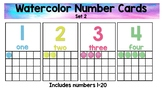 Water Color Number Cards Set 2