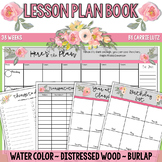 Lesson Plan Book ~ Watercolor Pink Floral