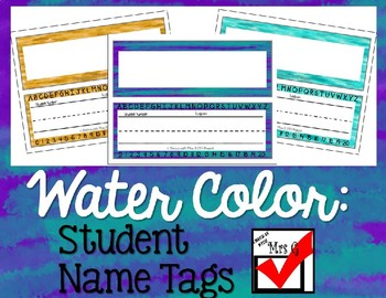 Water Color Student Name Tags