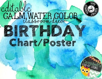 Water Color Theme {Birthday Chart}