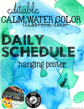 Water Color Theme {Daily Schedule}