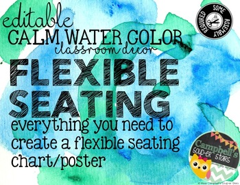 Water Color Theme {Flexible Seating Chart}