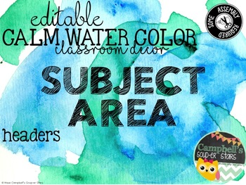 Water Color Theme {Subject Area Headers)
