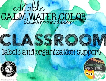 Water Color Theme {Supply Labels)