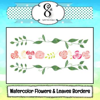 Tropical Water Color Flower Borders Freebie