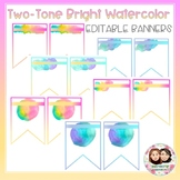 Water Color Two-Tone Editable Banner